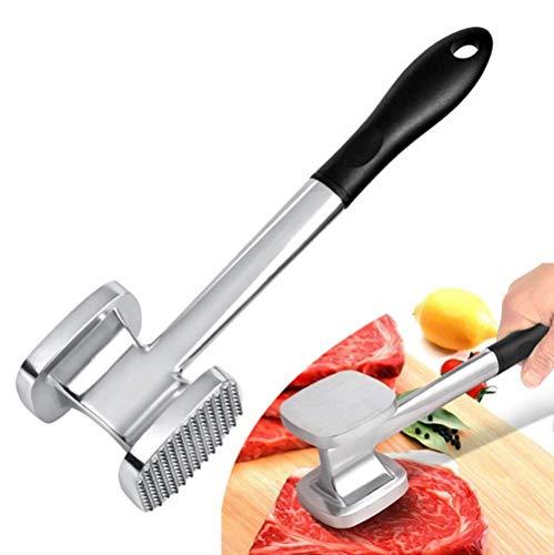 Martillo de carne de aleación de aluminio de doble cara, púas y superficie plana para cocina, barbacoa, carne de vacuno, carne de ternera, pechuga de pollo, aguja.