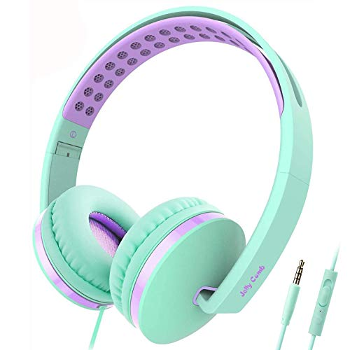 Kids Headphones for School, Jelly Comb Girls Lightweight Foldable Stereo Bass Kids Headphones with Microphone, Volume Control for Cell Phone, Tablet, Laptop, MP3/4(Green