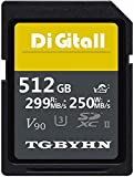 Tarjeta de memoria SD de alta rendimiento, 512 GB SDXC, tarjeta UHS-II, C10, velocidad de hasta 250 MB/S y 299 MB/S, ideal para cámaras digitales y videocámaras (512 GB)