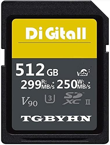 Memory SD Card ad alte prestazioni, 512 GB, SDXC Card UHS-II Memory Card,C10, velocità fino a 250 MB/S e 299 MB/S, ideale per fotocamere digitali e videocamere (512 GB)