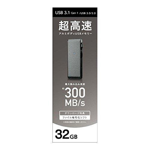 I-ODATAUSBメモリー32GBブラック|USB3.1Gen1(USB3.0)対応|超高速転送|2カラー・5容量から選べる|アルミボディ|U3-MAX2/32K