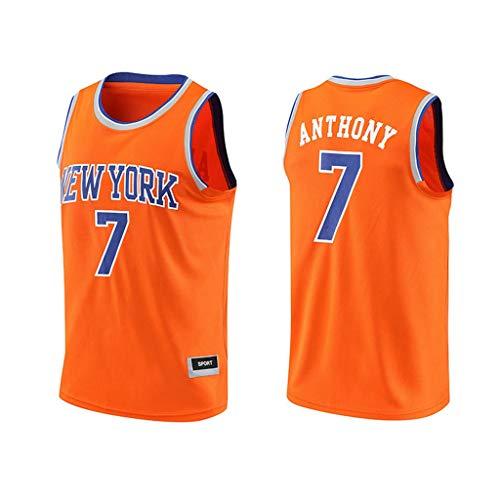 CHANGRAN New York Knicks Basketball-Trikot Anthony # 7 Ärmel mit V-Ausschnitt losen Weste Frauen und Männer tragen Schnell trocknend Training Fitness-Bekleidung orange,M