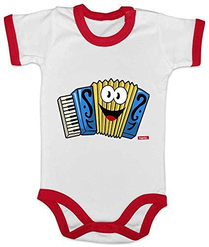 Hariz Baby Body Ringer Acorden sonriente instrumento nio divertido Plus Tarjeta de regalo blanco/rojo 3-6 meses