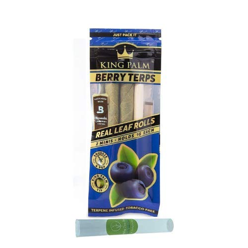 King Palm – Mini Size – Squeeze & Pop Pre Rolls – Berry Terps Flavored – Natural Pre Wrap Palm Leafs – Organic Wraps…