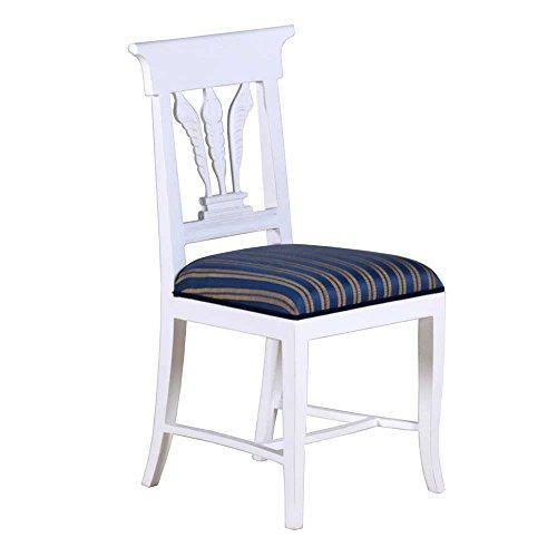 Stuhl Blätter Mahagoni weiß Landhausmöbel Stilmöbel Esszimmerstuhl Küchenstuhl