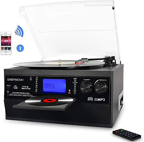 DIGITNOW! Bluetooth Vinyl Record Player Turntable, CD, Cassette, AM/FM Radio and Aux in with USB Port & SD Encoding- Remote Control, Built-in stereo speaker, Stand Alone Music Player, Remote Control
