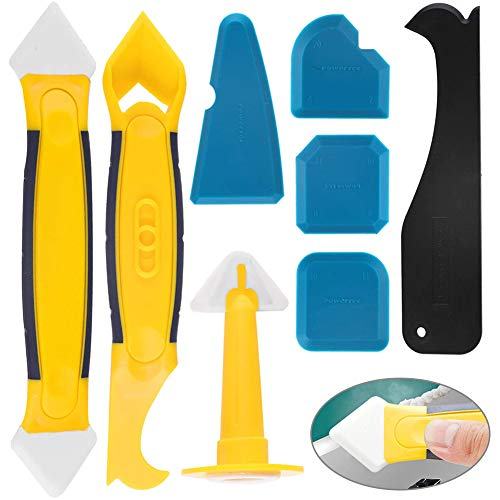 Silikonentferner,BETOY 8 in 1 Silikon Werkzeug Schaber Set Wiederverwendbar Ichtmittelentferner Fugenmesser Silikon für Badezimmer,Küche,Badezimmer Boden,Fenster,Freien