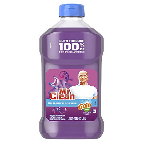 Mr. Clean Liquid All Purpose Multi-Surface Cleaner | with Gain Moonlight Breeze Scent - 45 Ounce Each Bottle (Pack of 2) (Total 90 fl oz)