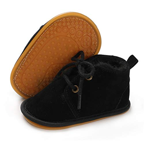 BENHERO Baby Boys Girls Anti-Slip Snow Boots Winter Warm Infant Toddler Outdoor Shoes(6-12 Months Infant,A-Black