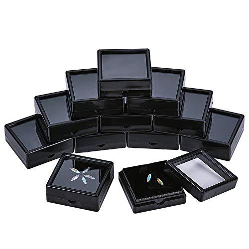 BENECREAT 12PCS Black Gemstone Display Box 5x5x2cm Schmuckschatulle Behälter mit durchsichtigen Deckeln für Edelsteine, Münzen, Schmuckverpackungen