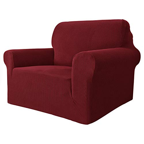 MAXIJIN Super Stretch Chair Covers for Living Room, 1-Piece Universal Chair Slipcover with Arms Jacquard Spandex Chair Protector Dogs Pet Friendly Sofa Couch Armchair Cover (1 Seater, Wine Red)