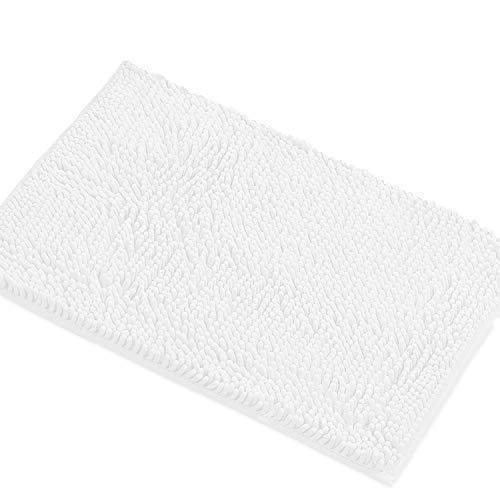 LuxUrux Bath Mat-Extra-Soft Plush Bath Shower Bathroom Rug,1'' Chenille Microfiber Material, Super Absorbent Shaggy Bath Rug. Machine Wash & Dry (15 x 23, White)
