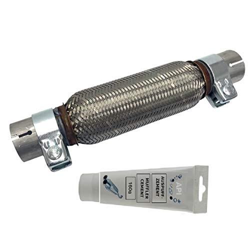 Flexrohr - Universal - Edelstahl - Interlock - 45 x 200 x 310mm - mit 2 Schellen - Montage ohne Schweißen - Flexstück - Wellrohr - Hosenrohr - Flexibles Rohr inkl. Montage / Cement Paste 150g