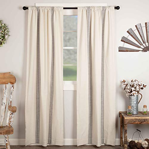 "Market Place Gray Grain Sack Stripe Panel Curtains, Set of 2, 84"" Long, Farmhouse Style Curtain, Gray & Cream Striped Window Drapes"