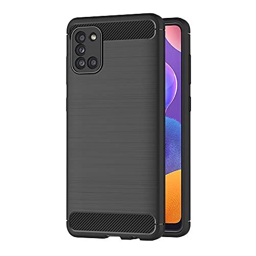 AICEK Hülle Compatible Samsung Galaxy A31 / F41 / M21s Schwarz Silikon Handyhülle für Galaxy A31 / F41 / M21s Schutzhülle Karbon Optik Soft Hülle (6,4 Zoll)