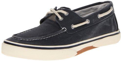 Sperry Top-Sider Halyard 2 Eye Boat Shoe -Mens Canvas Navy/Honey 8.5