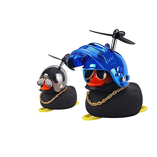 SHUILV Duck Car Dashboard Decoraciones de Goma Pato Adornos de Coches Pato Fresco con hélice Casco Gafas de Sol Cadena de Oro (un par)