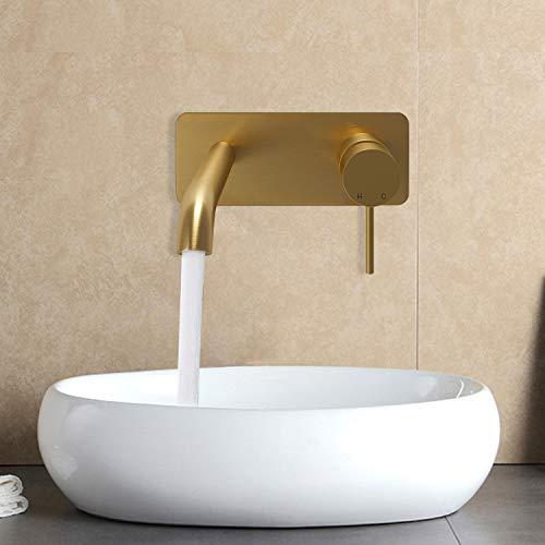 KWODE Grifo Lavabo Pared Moderno Mezclador Bañera Empotrado Grifería Baño Monomando Agua fría y Agua Caliente