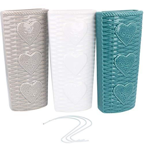 com-four® 3X humidificador de Aire de cerámica - radiador evaporador para humidificar el Aire de la habitación - evaporador de calefacción con Motivo de corazón (3 Piezas - corazón)