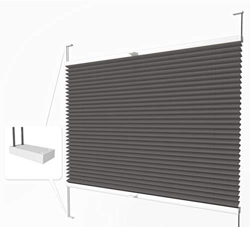 Home-Vision® Premium Plissee nach Maß, zum Anschrauben in der Glasleiste Innenrahmen Blickdicht Jalousie mit Halterungen zum Bohren, Verschiedene Profilfarben (Graphit, B71-80cm x H151-200cm)