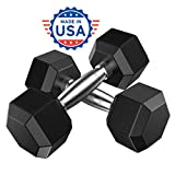 Napoo Dumbbell Gym Set of 2, Men's Fitness Equipment Home Exercise Workout Hex Coated Cast Iron Dumb Bells Pair (5 lbs)