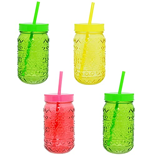 CREOFANT Juego de vasos compuesto por 4 vasos con pajitas, vaso de cóctel para fiestas hawaianas en el jardín, aprox. 400 ml