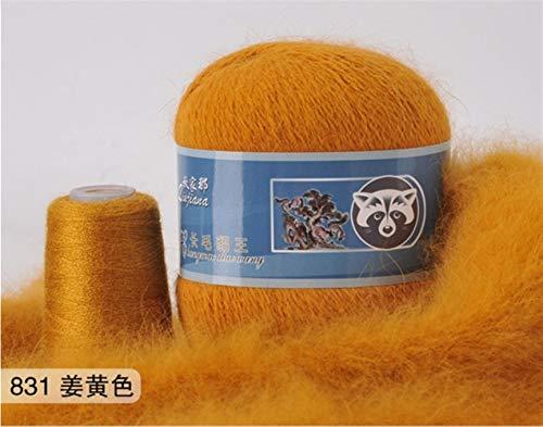 Mrjg Rosen 50 + 20g / Set Lange Plüsch Yarn Anti-Pilling Hand Stricken Gewinde for Cardigan Schal geeignet for Frau weiß (Color : 831)