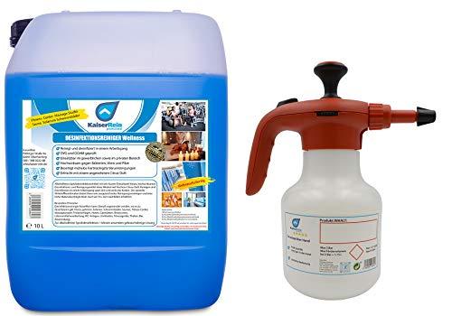 Desinfektionsreiniger Wellness/Spa 10 L Kanister zur Reinigung und Desinfektion mit Pumpdrucksprüher 1 L Abbildung. ähnlich Flächendesinfektionsmittel zum Sprühen 1 Minute einwirkzeit