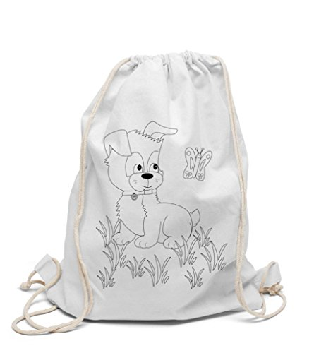 Turnbeutel zum selbst gestalten Kinderrucksack Hund zum bemalen und ausmalen für Kindergarten Hort Jungen und Mädchen