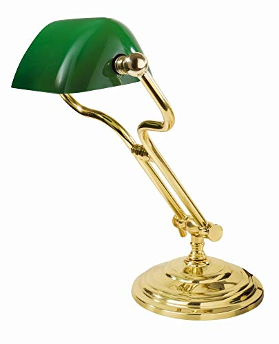 Tischlampe Jugendstil Grün Glas Echt-Messing Gold 24 Karat Handarbeit E27 Design Leuchte Schreibtisch Beistelltisch
