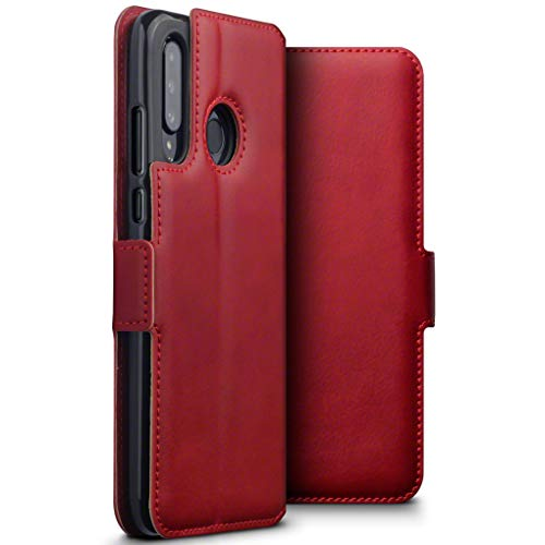 TERRAPIN, Kompatibel mit Huawei P30 Lite Hülle, Premium ECHT Spaltleder Flip Handyhülle Huawei P30 Lite Hülle Tasche Schutzhülle, Rot