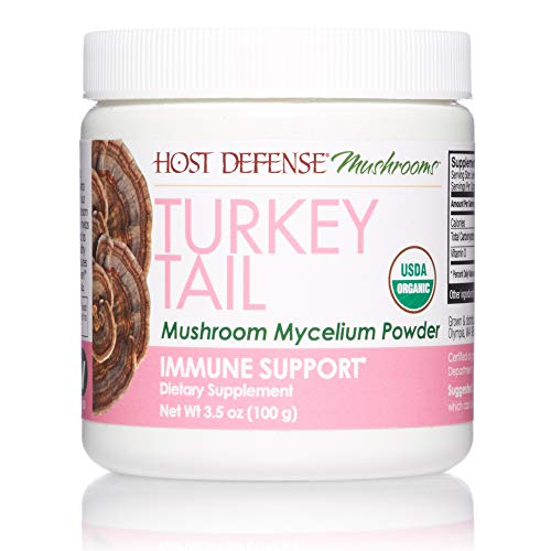 Host Defense, Turkey Tail Mushroom Powder, Supports Immune Health, Certified Organic Supplement, 3.5 oz (66 Servings)