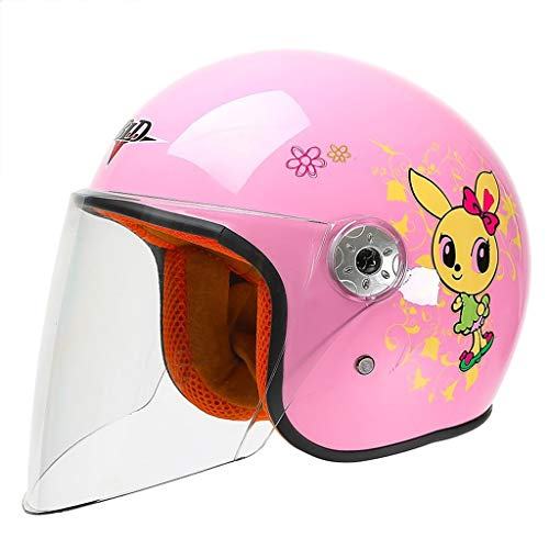 YQRJYB Kindermotorradhelm Jungen- und Mädchenhalbhelm Vier-Jahreszeiten-Universalhelm Sicherheit (Color : Pink-2)