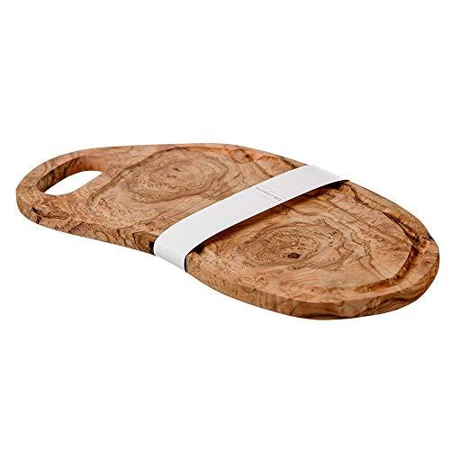Naturally Med NM/OL031 - Tagliere grande in legno di ulivo con manico chiuso e scanalatura