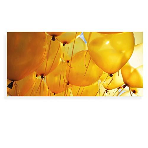 Banjado Wechselscheibe für IKEA GYLLEN Wandlampe   Glasscheibe für Wandleuchte 56x26cm   Echtglas Motiv Gelbe Luftballons   Querformat