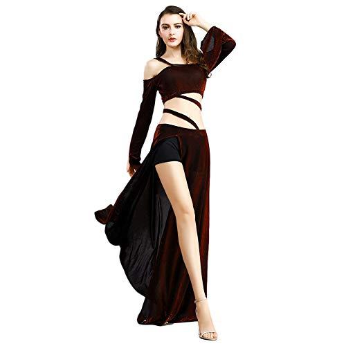 ROYAL SMEELA Disfraz de Danza del Vientre para Mujer Tops de Baile y Falda Conjunto Mangas largas Fuera del Hombro Tops de Cosecha Faldas Maxi Slit Vestido de prctica Ropa
