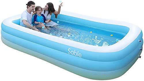 Sable Aufblasbarer Pool, 300 x 184 x 51 cm großer Family Pool, Schwimmbecken rechteckig für Kinder ab 3 Jahren, Jugendliche und Erwachsene, für Garten und Outdoor