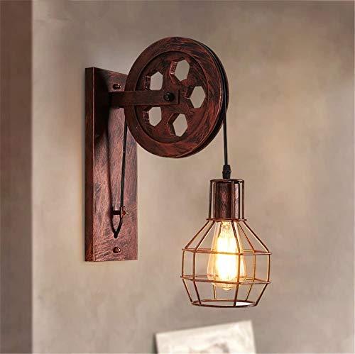 Lámpara de pared Retro Aplique, Luz de pared de hierro vintage E27 Iluminación interior Lámpara de pared de elevación creativa Lámpara de pared Retro Loft Industrial estilo para casa, bar, restaurante