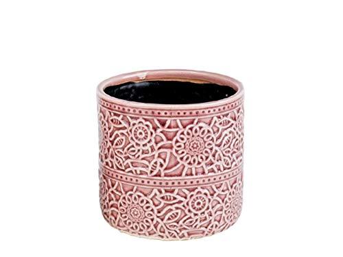 "meindekoartikel Deko-Topf ""Miso"" Übertopf aus Keramik - rosa (Ø18,5xH17cm)"