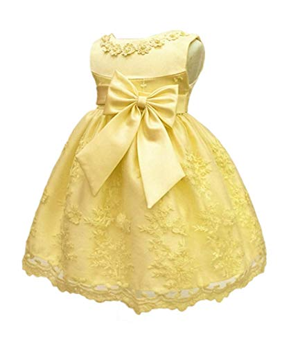 HX Baby Girl's Newborn Bowknot Gauze Christening Baptism Dress Infant Flower Girls Wedding Dresses 13 Color (18M/13-18 Months, Yellow)