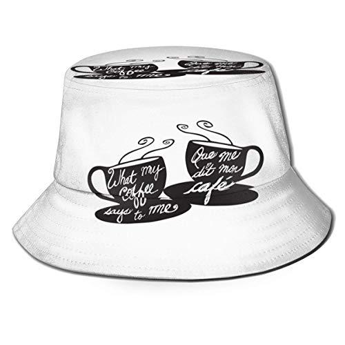XCNGG My Coffee Loves Me Mujeres Hombres Unisex Sombrero de Sol Sombrero de Color sólido Sombrero de Pescador Sombrero de Cubo de Sol Moda Sombrero de Playa Salvaje Gorra