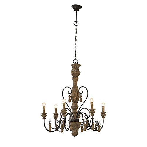 Loberon Leuchter Lassigny, Mangoholz, Eisen, H/B/T ca. 60/42 / 42 cm, braun, von A++ bis E, max. 40 Watt