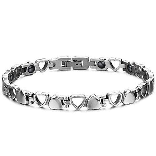 JewelryWe Schmuck Edelstahl Herz Magnetarmband, Germanium Magnet Armband Partnerarmband Armreif, Valentine, Farbe Silber für Damen