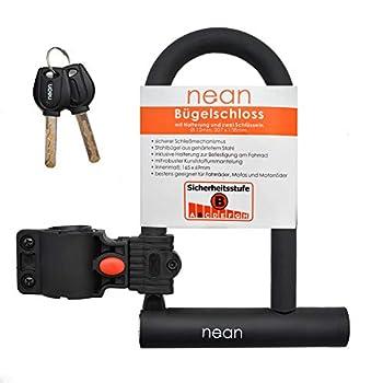 nean Antivol de vélo avec support et 2 clés de sécurité Ø 12 mm, 207 x 138 mm, noir