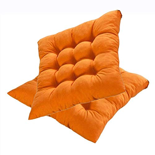 L.TSN Indoor Outdoor Chair Seat Cushions, Patio Furniture Cushions with Ties for Non Slip, Solid Home Patio Furniture Cushions Decorative Floor Seat Pad, 40X40cm,Orange,4 Pack