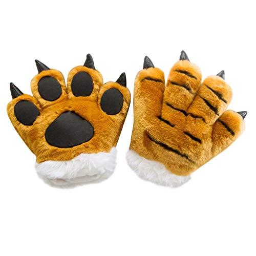 NUOBESTY - Guantes de tigre para nios, diseo de pata de tigre, color verde, Felpa, PU, algodn PP, marrn, 25 * 24cm