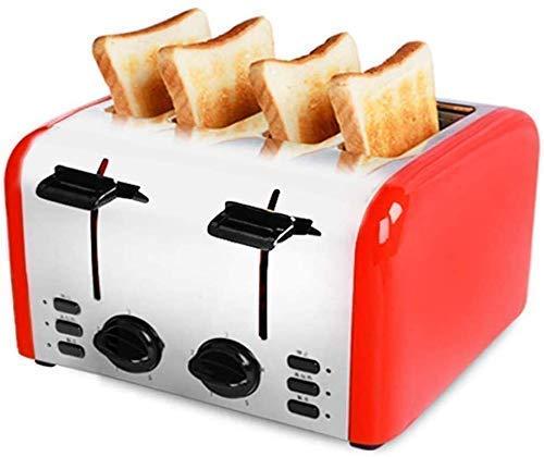 4 rebanadas tostadora, tostadoras de pan compactos Ajustes, ranuras anchas, Carcasa acero inoxidable, bandeja for migas desmontable, muy conveniente 1125 WTZ012