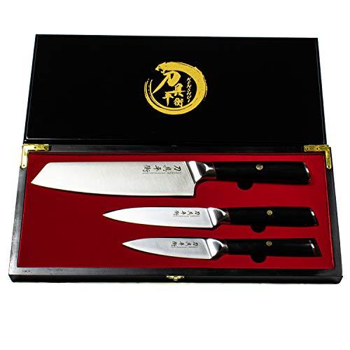 KENSHUI Küchenmesser 3er Set Profi Bunka Chef Messer Koch Geschenk in hochwertiger Holzschachtel, limited Edition Redline-Serie