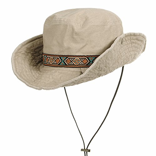 WITHMOONS Boonie Bush Hat Aztec Pattern Wide Brim Side Snap KR8752 (Ivory),Ivory,One Size