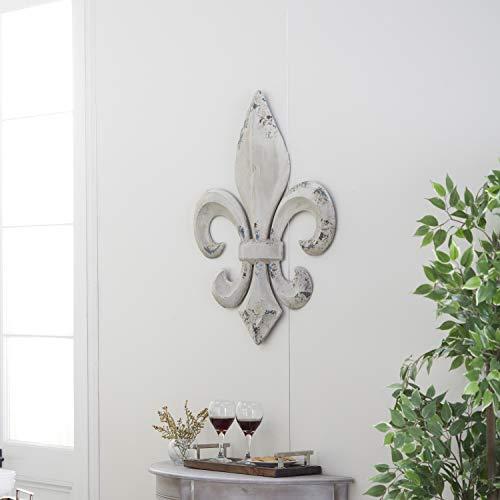 Deco 79 en métal en Forme de Fleur de lys Décoration Murale, 25 par 76,2 cm